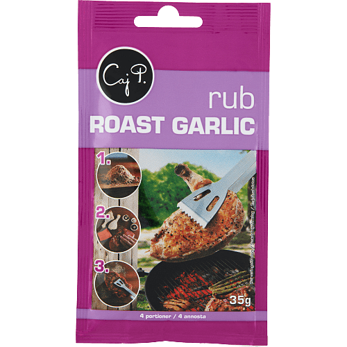 Rub roast garlic