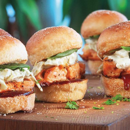 Pulled Salmon Sliders